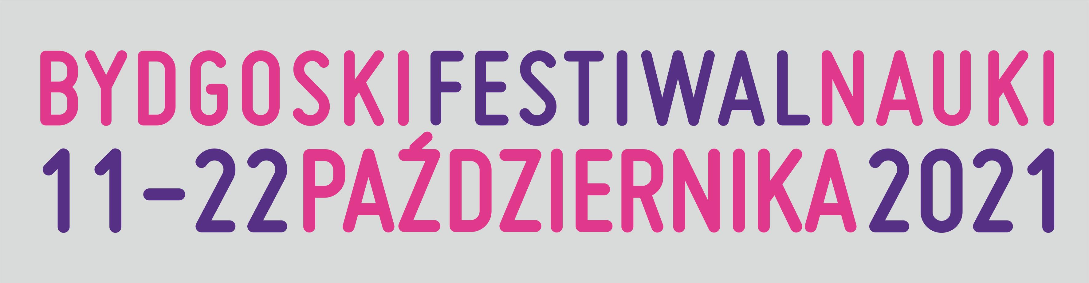 Baner (kolorowy napis Bydgoski Festiwal Nauki online)
